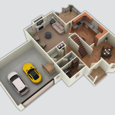The Pond View 3D Floor Plan
